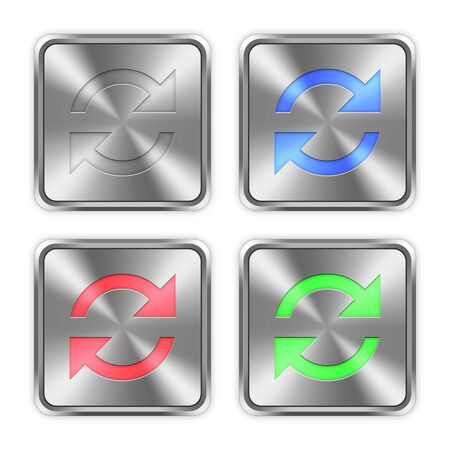 layer styles: Color refresh icons engraved in glossy steel push buttons. Well organized layer structure, color swatches and graphic styles.