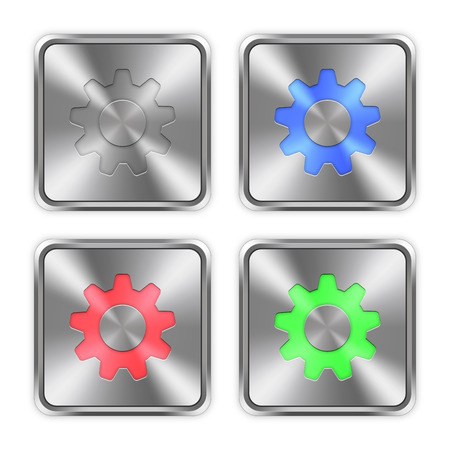 preset: Color settings icons engraved in glossy steel push buttons. Well organized layer structure, color swatches and graphic styles.