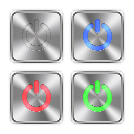 layer styles: Color power off icons engraved in glossy steel push buttons. Well organized layer structure, color swatches and graphic styles.