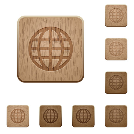 commercial painting: Set of carved wooden globe buttons. 8 variations included. Arranged layer structure.