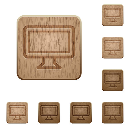 variations: Set of carved wooden monitor buttons. 8 variations included. Arranged layer structure.