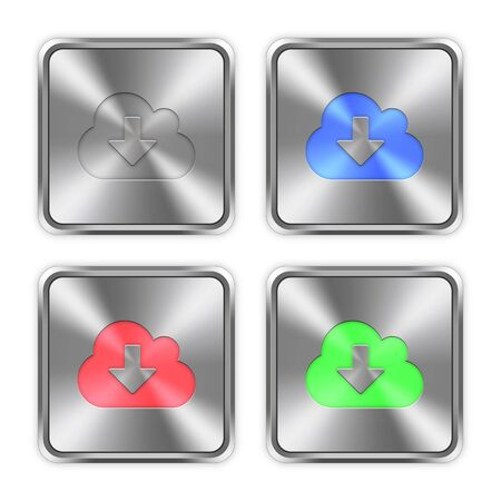 layer styles: Color cloud download icons engraved in glossy steel push buttons. Well organized layer structure, color swatches and graphic styles.