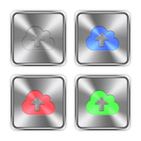 layer styles: Color cloud upload icons engraved in glossy steel push buttons. Well organized layer structure, color swatches and graphic styles.