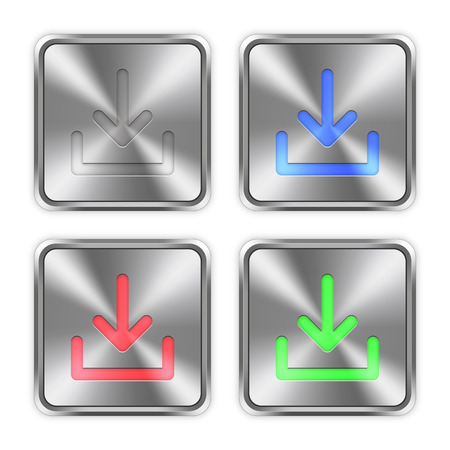 layer styles: Color download icons engraved in glossy steel push buttons. Well organized layer structure, color swatches and graphic styles.