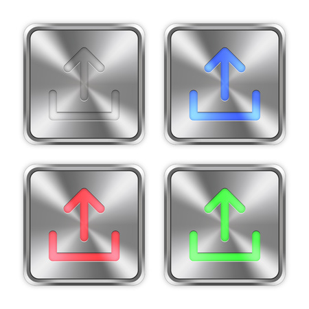 layer styles: Color upload icons engraved in glossy steel push buttons. Well organized layer structure, color swatches and graphic styles.