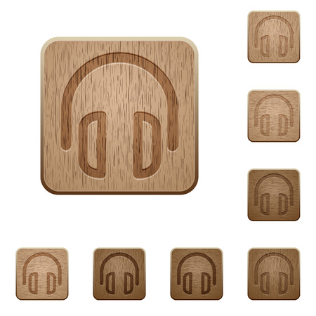 variations: Set of carved wooden headset buttons. 8 variations included. Arranged layer structure.