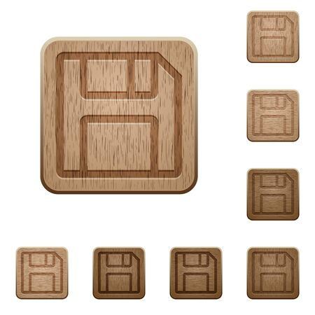 variations: Set of carved wooden save buttons. 8 variations included. Arranged layer structure. Illustration