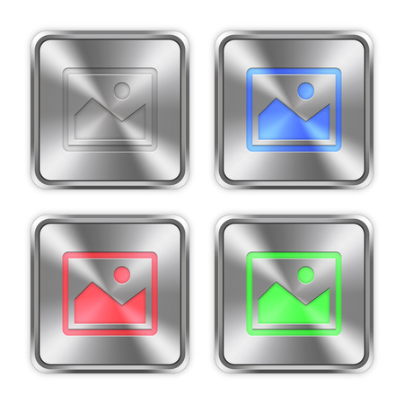 layer styles: Color image icons engraved in glossy steel push buttons. Well organized layer structure, color swatches and graphic styles. Illustration