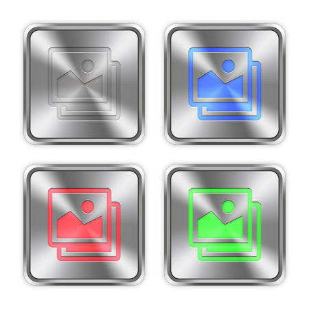 color swatches: Color images icons engraved in glossy steel push buttons. Well organized layer structure, color swatches and graphic styles.