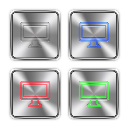 color swatches: Color monitor icons engraved in glossy steel push buttons. Well organized layer structure, color swatches and graphic styles.