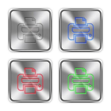 layer styles: Color print icons engraved in glossy steel push buttons. Well organized layer structure, color swatches and graphic styles.