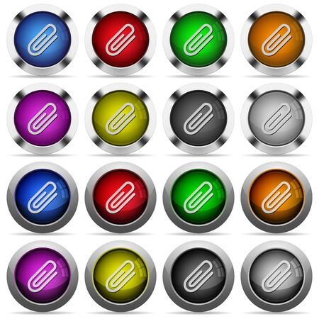 attachment: Set of attachment glossy web buttons. Arranged layer structure. Illustration