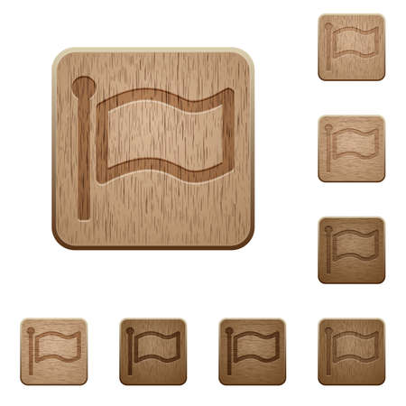 variations: Set of carved wooden flag buttons. 8 variations included. Arranged layer structure. Illustration