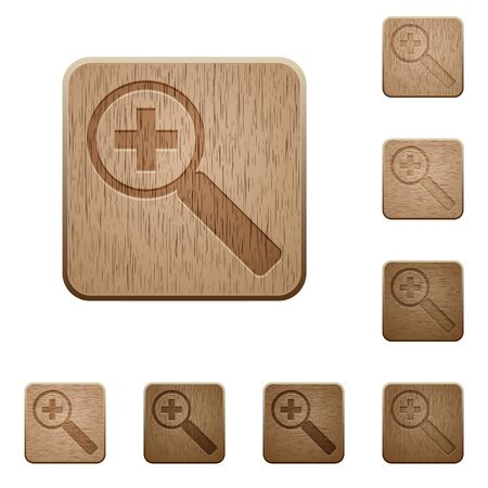 zoom in: Set of carved wooden zoom in buttons. 8 variations included. Arranged layer structure.