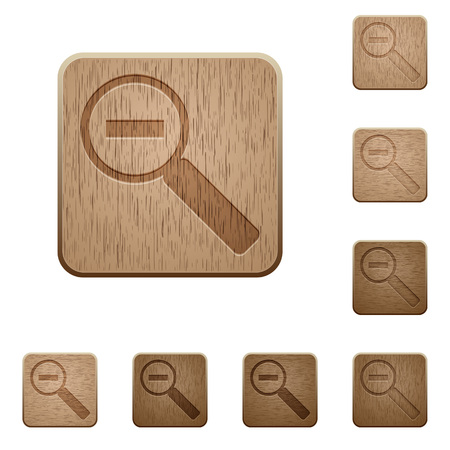 polished wood: Set of carved wooden zoom out buttons. 8 variations included. Arranged layer structure.
