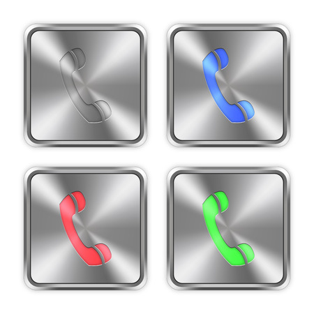 layer styles: Color call icons engraved in glossy steel push buttons. Well organized layer structure, color swatches and graphic styles.