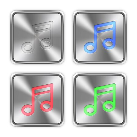 layer styles: Color music icons engraved in glossy steel push buttons. Well organized layer structure, color swatches and graphic styles. Illustration