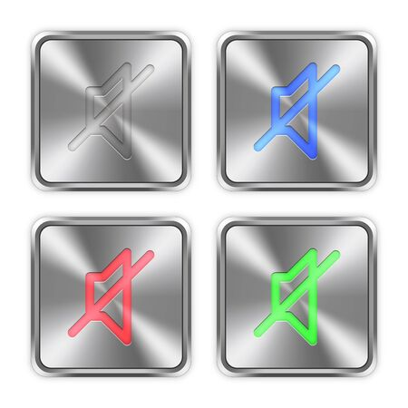 layer styles: Color mute icons engraved in glossy steel push buttons. Well organized layer structure, color swatches and graphic styles. Illustration