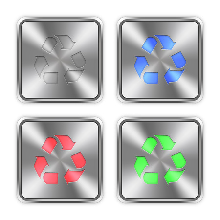 layer styles: Color recycle icons engraved in glossy steel push buttons. Well organized layer structure, color swatches and graphic styles.