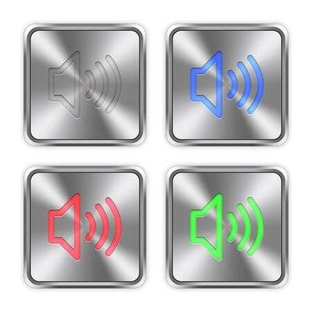 layer styles: Color volume icons engraved in glossy steel push buttons. Well organized layer structure, color swatches and graphic styles.