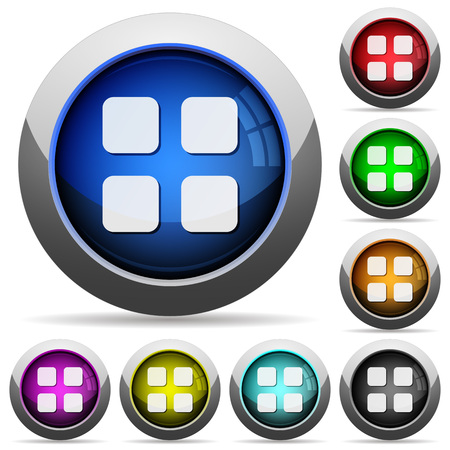thumbnails: Set of round glossy large thumbnails buttons. Arranged layer structure. Illustration