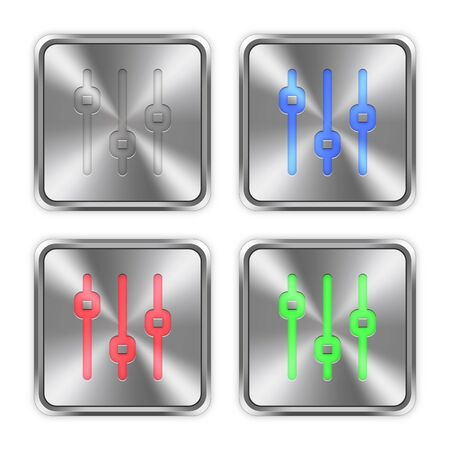 layer styles: Color vertical adjustment icons engraved in glossy steel push buttons. Well organized layer structure, color swatches and graphic styles.