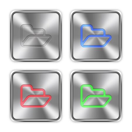 layer styles: Color folder icons engraved in glossy steel push buttons. Well organized layer structure, color swatches and graphic styles. Illustration