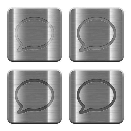 layer style: Set of Chat buttons vector in brushed metal style. Arranged layer, color and graphic style structure.