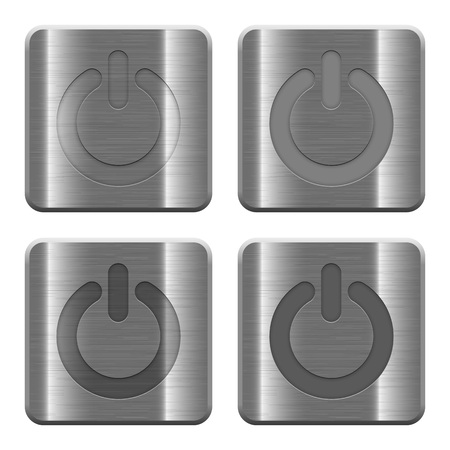 power off: Set of Power off buttons vector in brushed metal style. Arranged layer, color and graphic style structure.