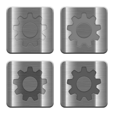 settings: Set of Settings buttons vector in brushed metal style. Arranged layer, color and graphic style structure.