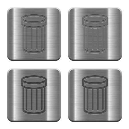 wastage: Set of trash buttons vector in brushed metal style. Arranged layer, color and graphic style structure.