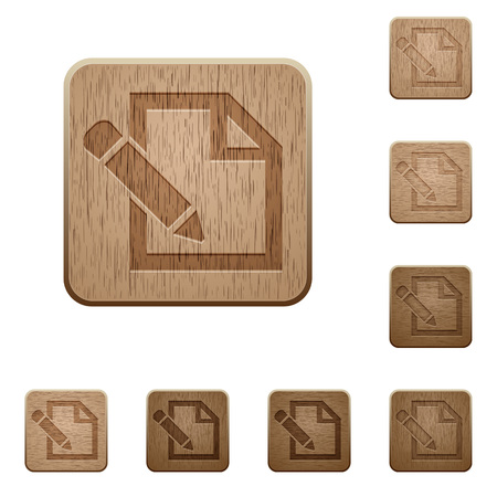 carved: Set of carved wooden edit buttons. 8 variations included. Arranged layer structure.