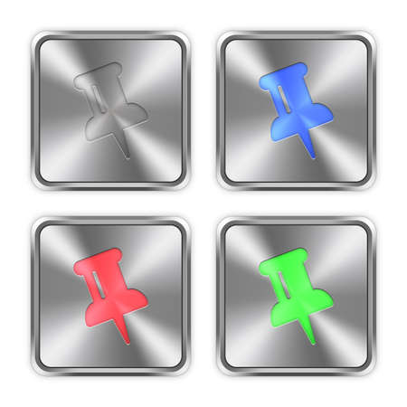 layer styles: Color pin icons engraved in glossy steel push buttons. Well organized layer structure, color swatches and graphic styles. Illustration