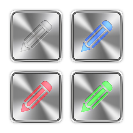 layer styles: Color pencil icons engraved in glossy steel push buttons. Well organized layer structure, color swatches and graphic styles. Illustration