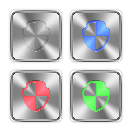 layer styles: Color shield icons engraved in glossy steel push buttons. Well organized layer structure, color swatches and graphic styles.