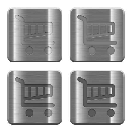 layer style: Set of Cart buttons vector in brushed metal style. Arranged layer, color and graphic style structure. Illustration