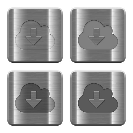 acquire: Set of Cloud download buttons vector in brushed metal style. Arranged layer, color and graphic style structure.