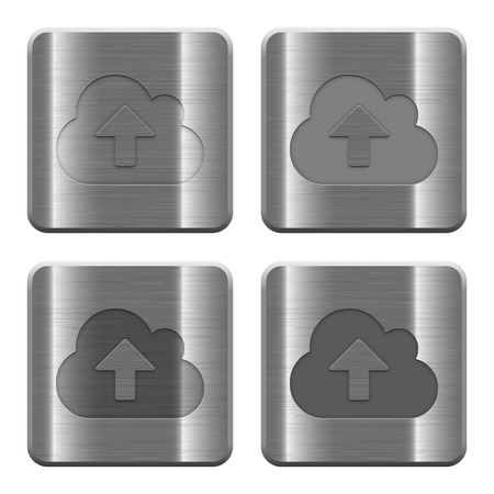 layer style: Set of Cloud upload buttons vector in brushed metal style. Arranged layer, color and graphic style structure.