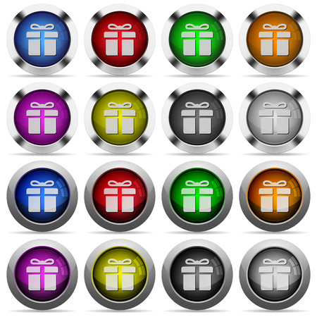 largess: Set of gift glossy web buttons. Arranged layer structure. Illustration