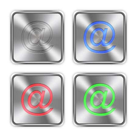 layer styles: Color email icons engraved in glossy steel push buttons. Well organized layer structure, color swatches and graphic styles.
