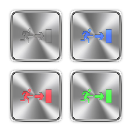 layer styles: Color exit icons engraved in glossy steel push buttons. Well organized layer structure, color swatches and graphic styles. Illustration