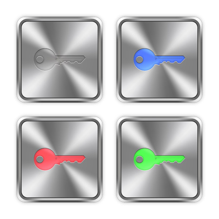 layer styles: Color key icons engraved in glossy steel push buttons. Well organized layer structure, color swatches and graphic styles.