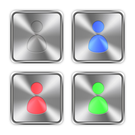 color swatches: Color user avatar icons engraved in glossy steel push buttons. Well organized layer structure, color swatches and graphic styles. Illustration