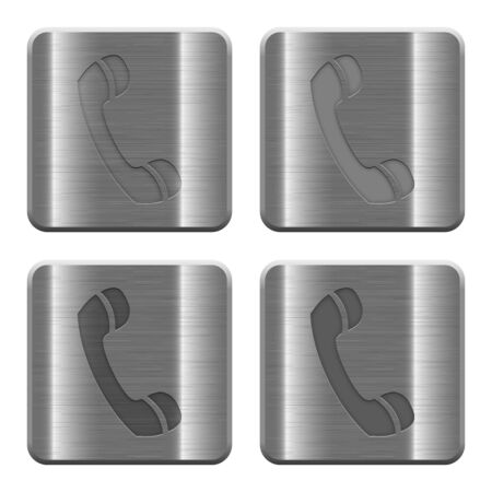 brushed steel: Set of Phone call buttons vector in brushed metal style. Arranged layer, color and graphic style structure.