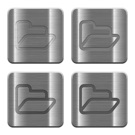 layer style: Set of Folder buttons in brushed metal style. Arranged layer, color and graphic style structure. Illustration