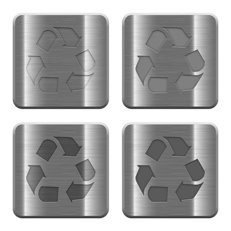 conservationist: Set of Recycle buttons in brushed metal style. Arranged layer, color and graphic style structure.