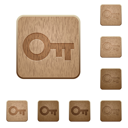 variations set: Set of carved wooden old key buttons. 8 variations included. Arranged layer structure.