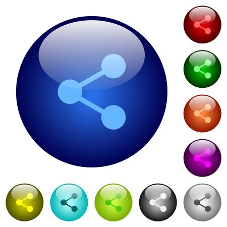 green button: Set of color share glass web buttons. Arranged layer structure. Illustration