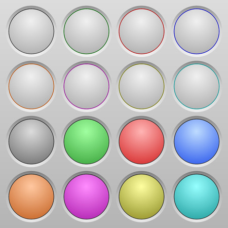 humped: Set of blank plastic sunk spherical buttons on light gray background. 16 variations included. Well-organized layer, color swatch and graphic style structure. Easy to recolor.