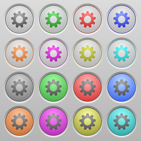 humped: Set of settings plastic sunk spherical buttons on light gray background. 16 variations included. Well-organized layer, color swatch and graphic style structure. Easy to recolor.